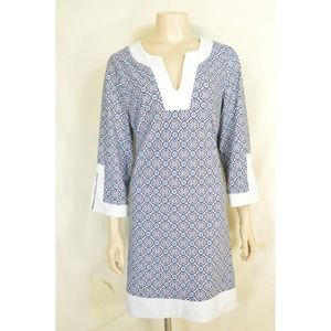Jude Connally dress L? blue, white and aqua geomet